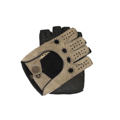 Women's fingerless gloves GREY-BLACK