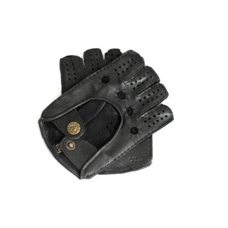 Women's deerskin leather fingerless gloves BLACK