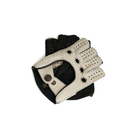 Women's deerskin leather fingerless gloves BONE-BLACK