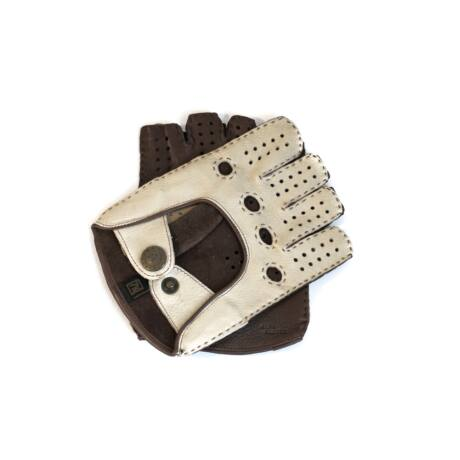 Women's deerskin leather fingerless gloves BONE-BROWN
