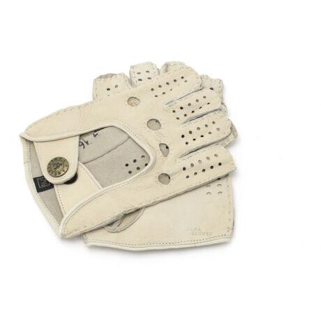 Women's deerskin leather fingerless gloves BONE