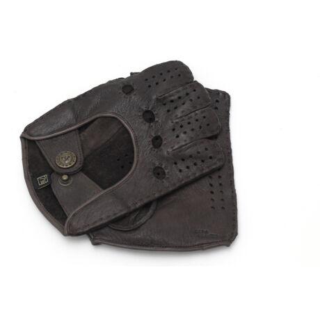 Women's deerskin leather fingerless gloves BROWN