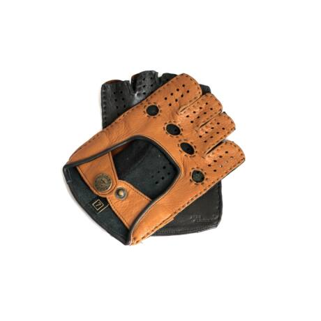 Women's deerskin leather fingerless gloves COGNAK-BLACK