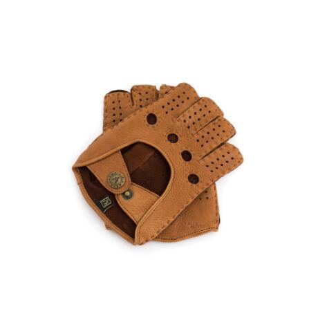 Women's deerskin leather fingerless gloves COGNAK