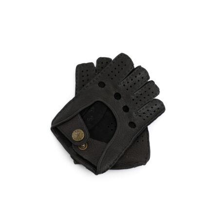 Women's deerskin leather fingerless gloves DARK BROWN