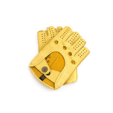 Women's deerskin leather fingerless gloves GOLD