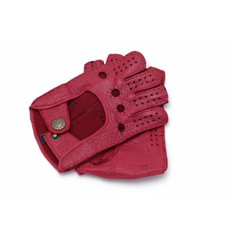 Women's deerskin leather fingerless gloves RED