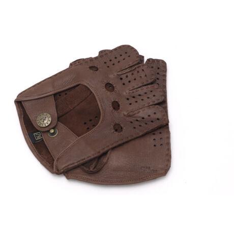Women's deerskin leather fingerless gloves WALNUT