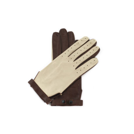 Women's hairsheep leaher unlined gloves BEIGE-BROWN