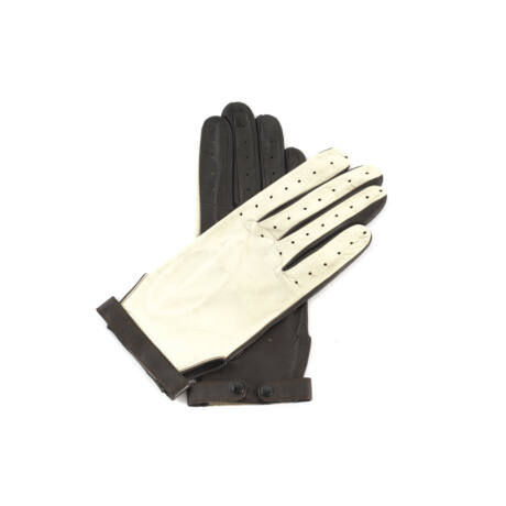 Women's hairsheep leaher unlined gloves BONE-BROWN