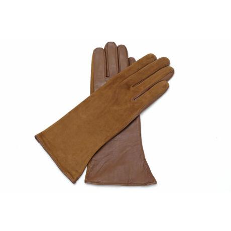 Women's silk lined leather gloves COGNAK(V)
