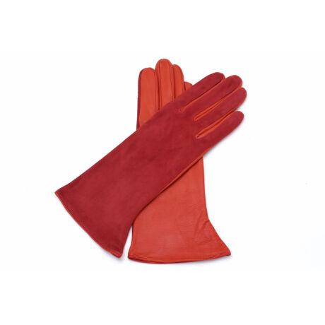 Women's silk lined leather gloves ORANGE(V)