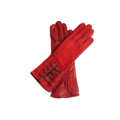 Women's suede leather gloves lined with wool RED