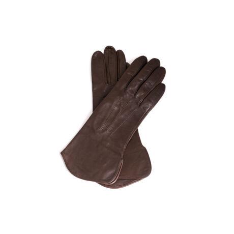 Women's silk lined leather gloves DARK BROWN