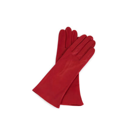 Women's silk lined leather gloves RED