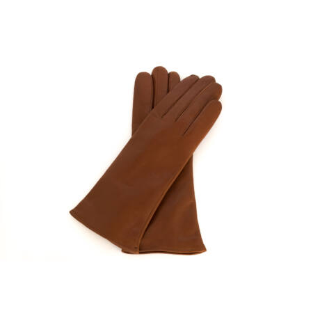 Women's hairsheep leather gloves lined with wool COGNAK