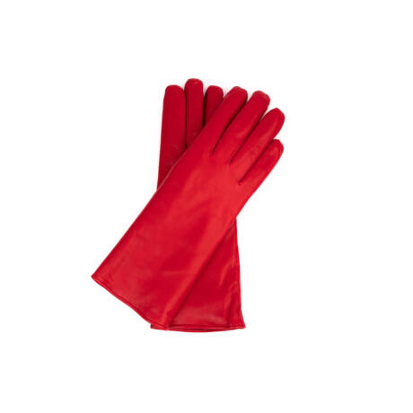 Women's hairsheep leather gloves lined with rabbit fur RED