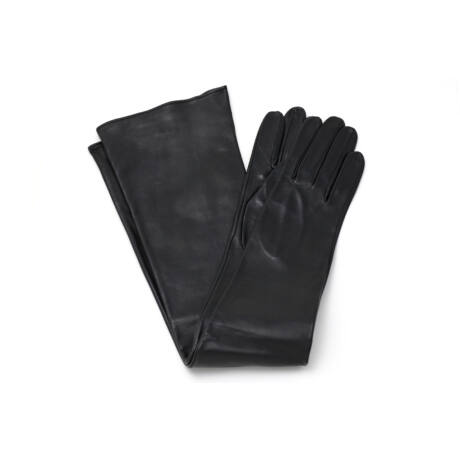 Women's long unlined leather gloves BLACK