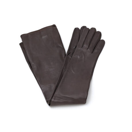 Women's long unlined leather gloves BROWN