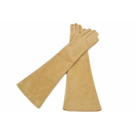 Women's long suede leather gloves silk lined BEIGE