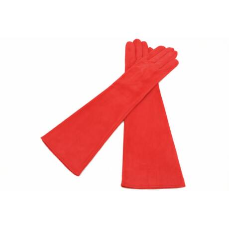 Women's long suede leather gloves silk lined RED
