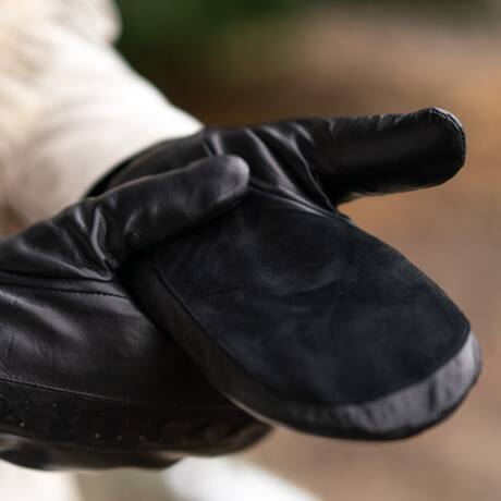 Women's mittens lined with rabbit fur - Rabbit fur lined