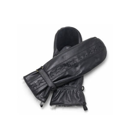 Women's mittens lined with rabbit fur BLACK