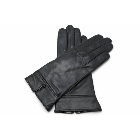 Women's leather gloves lined with wool BLACK