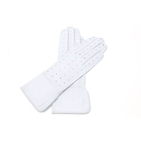 Women's hairsheep leather unlined gloves WHITE