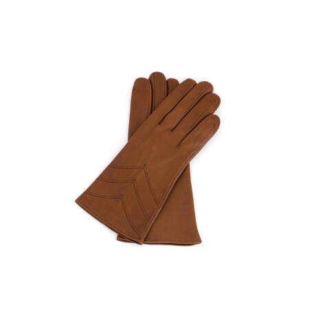 Women's silk lined leather gloves COGNAK