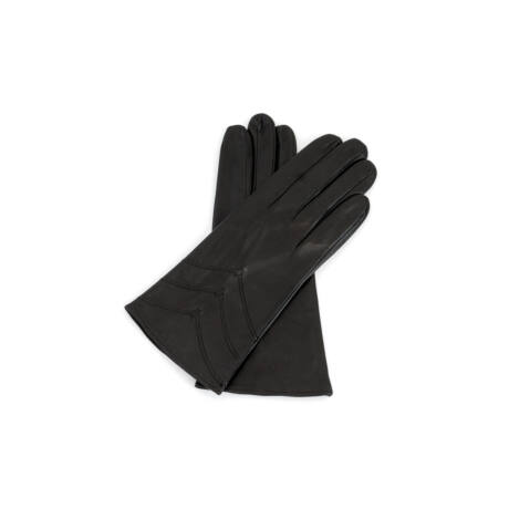 Women's silk lined leather gloves DARK BROWN