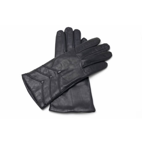 Women's hairsheep leather gloves lined with lamb fur BLACK