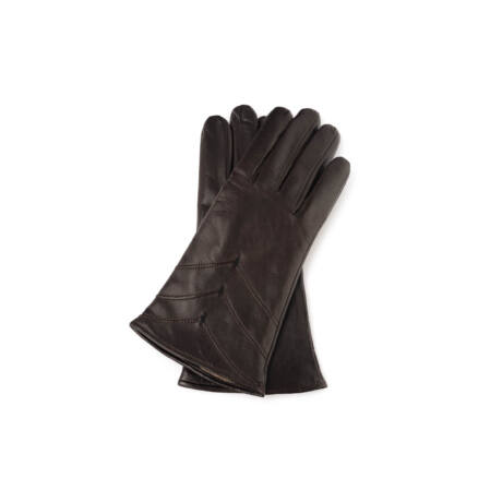 Women's hairsheep leather gloves lined with wool DARK BROWN