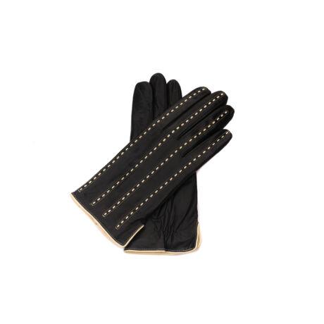 Women's leather gloves. wool lined BLACK(BEIGE)