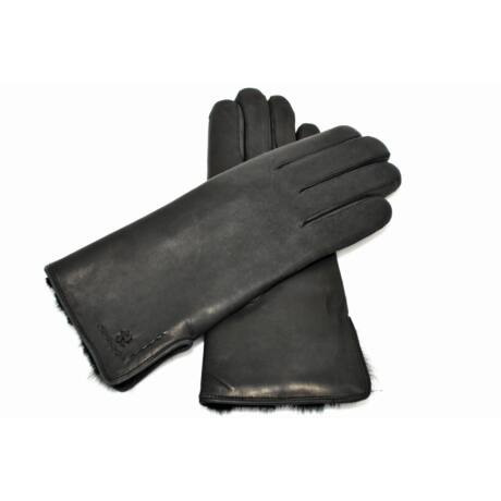 Women's hairsheep leather gloves lined with rabbit fur