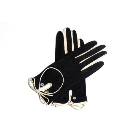 Women's suede leather unlined gloves BLACK(BONE)