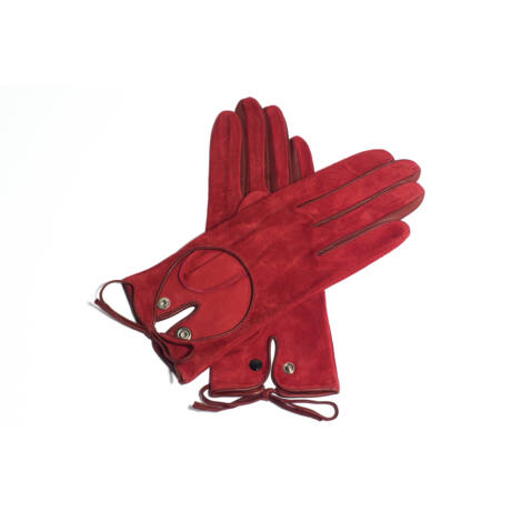 Women's suede leather unlined gloves RED
