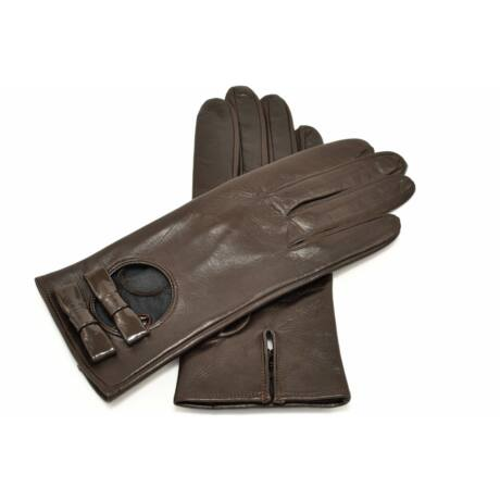 Women's silk lined leather gloves BROWN