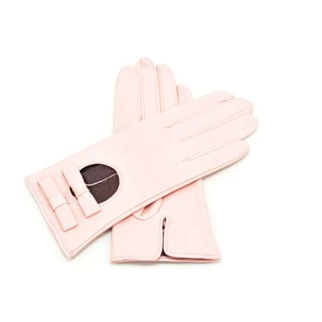 Women's silk lined leather gloves PINK