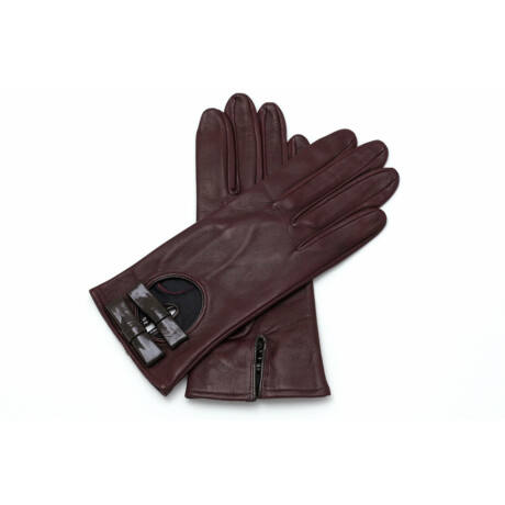 Women's silk lined leather gloves WINE