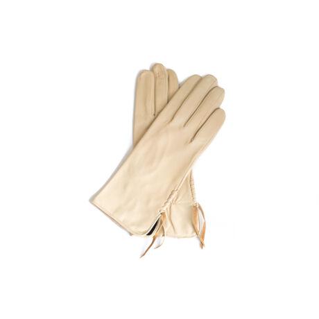 Női bőrkesztyű selyem béléssel BÉZS