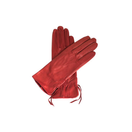 Women's silk lined leather gloves DARK RED