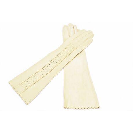 Women's long unlined leather gloves BONE