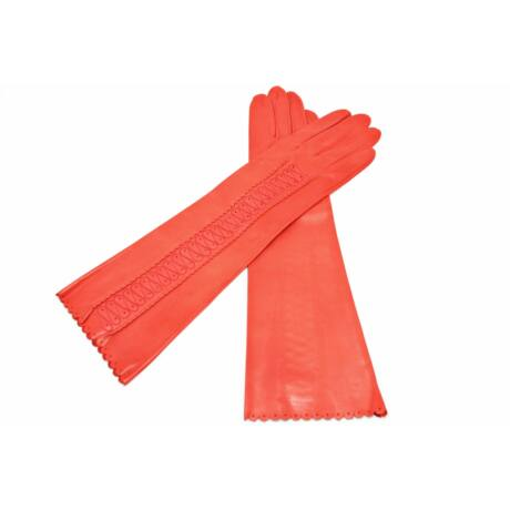 Women's long unlined leather gloves CORAL