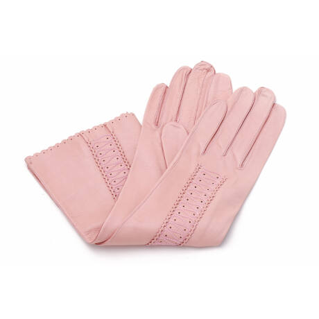 Women's long unlined leather gloves PINK