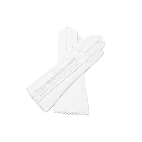 Women's unlined leather gloves WHITE