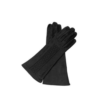 Women's silk lined leather gloves BLACK
