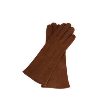 Női bőrkesztyű selyem béléssel BARNA