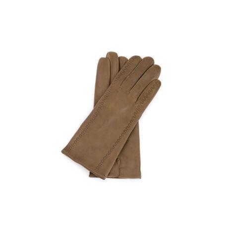 Női bőrkesztyű selyem béléssel TAUPE