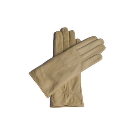 Women's leather gloves lined with wool BEIGE